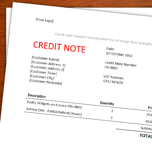 Going Freelance  Credit Note Form